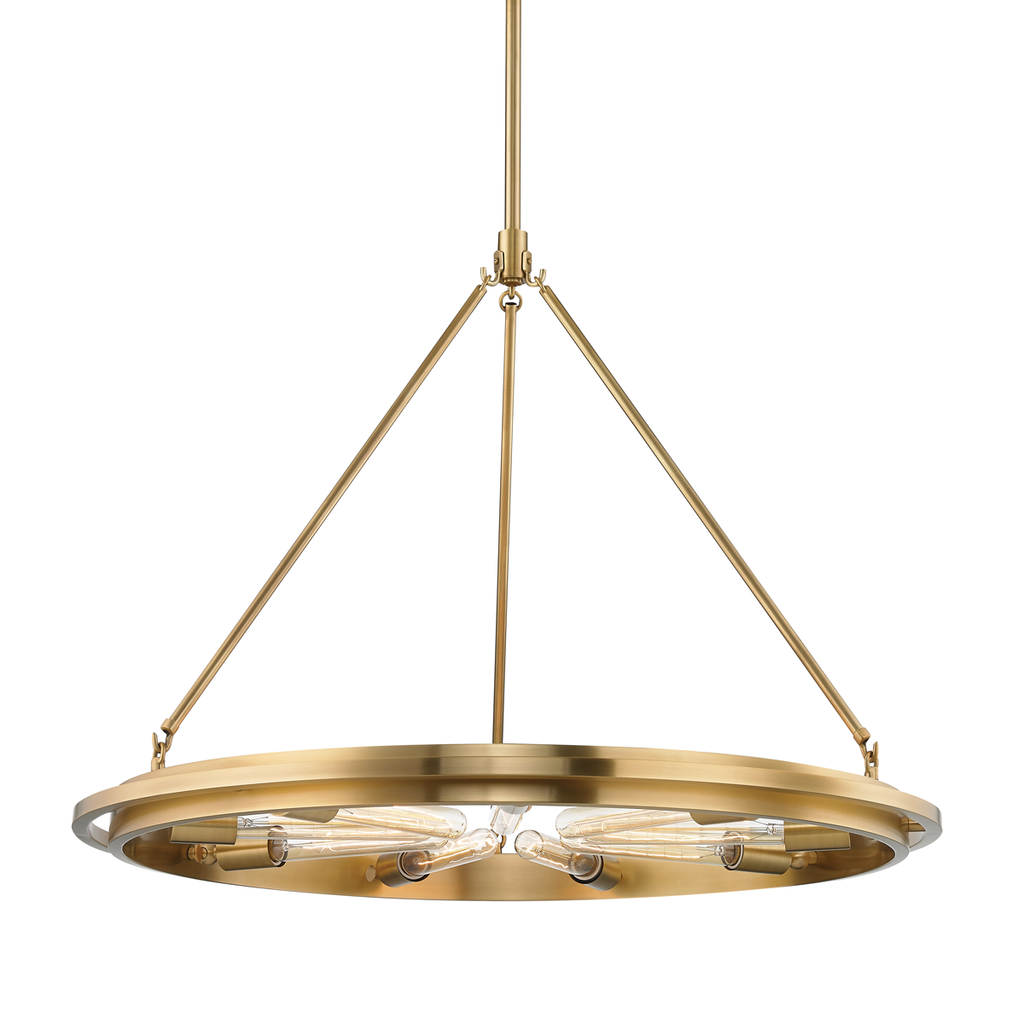 AGED BRASS CHAMBERS CHANDELIER