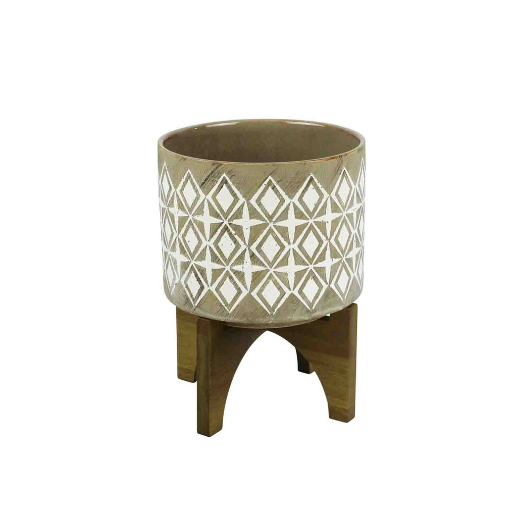 LARGE GRAY AND WHITE PLANTER ON WOOD STAND