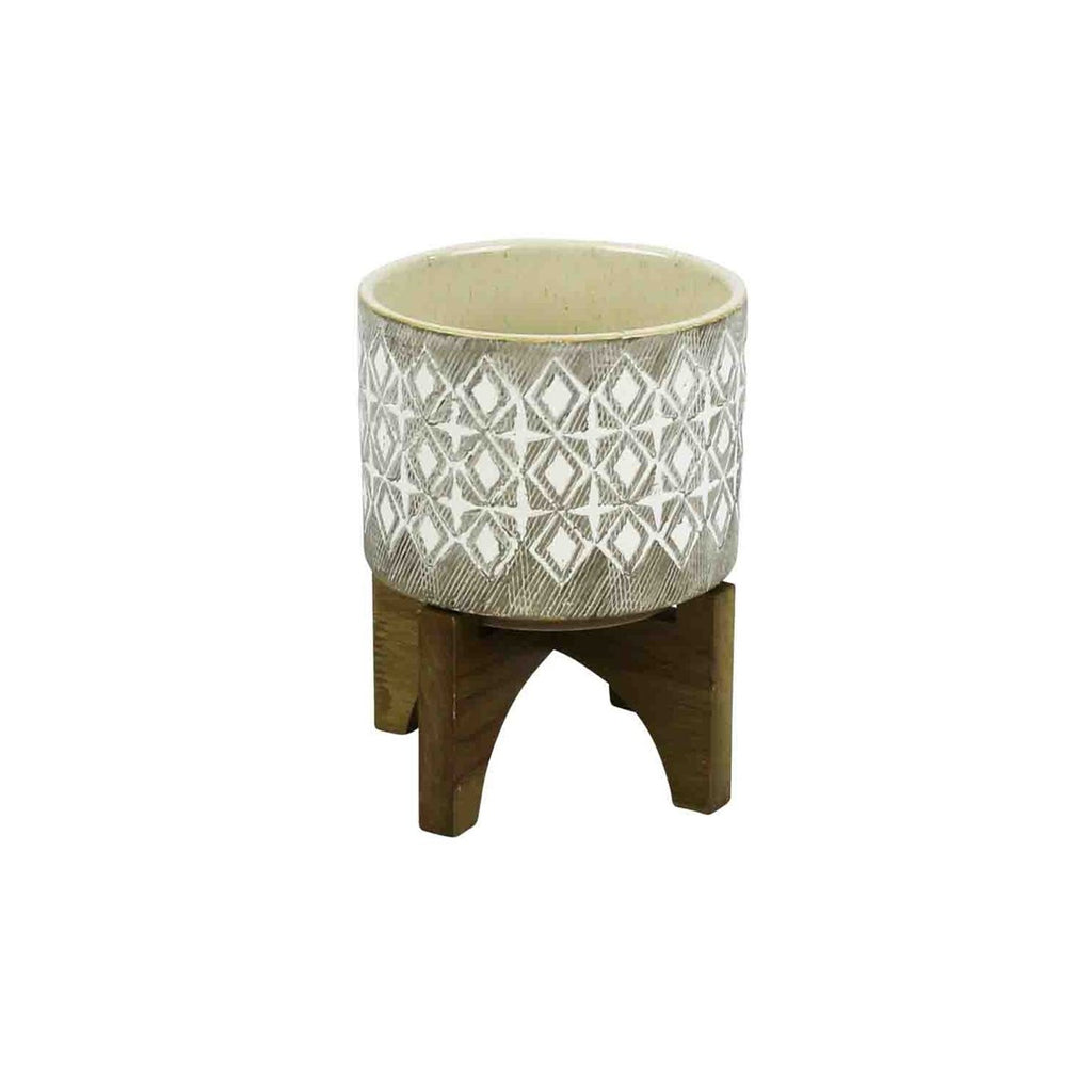 SMALL GRAY AND WHITE PLANTER ON WOOD STAND
