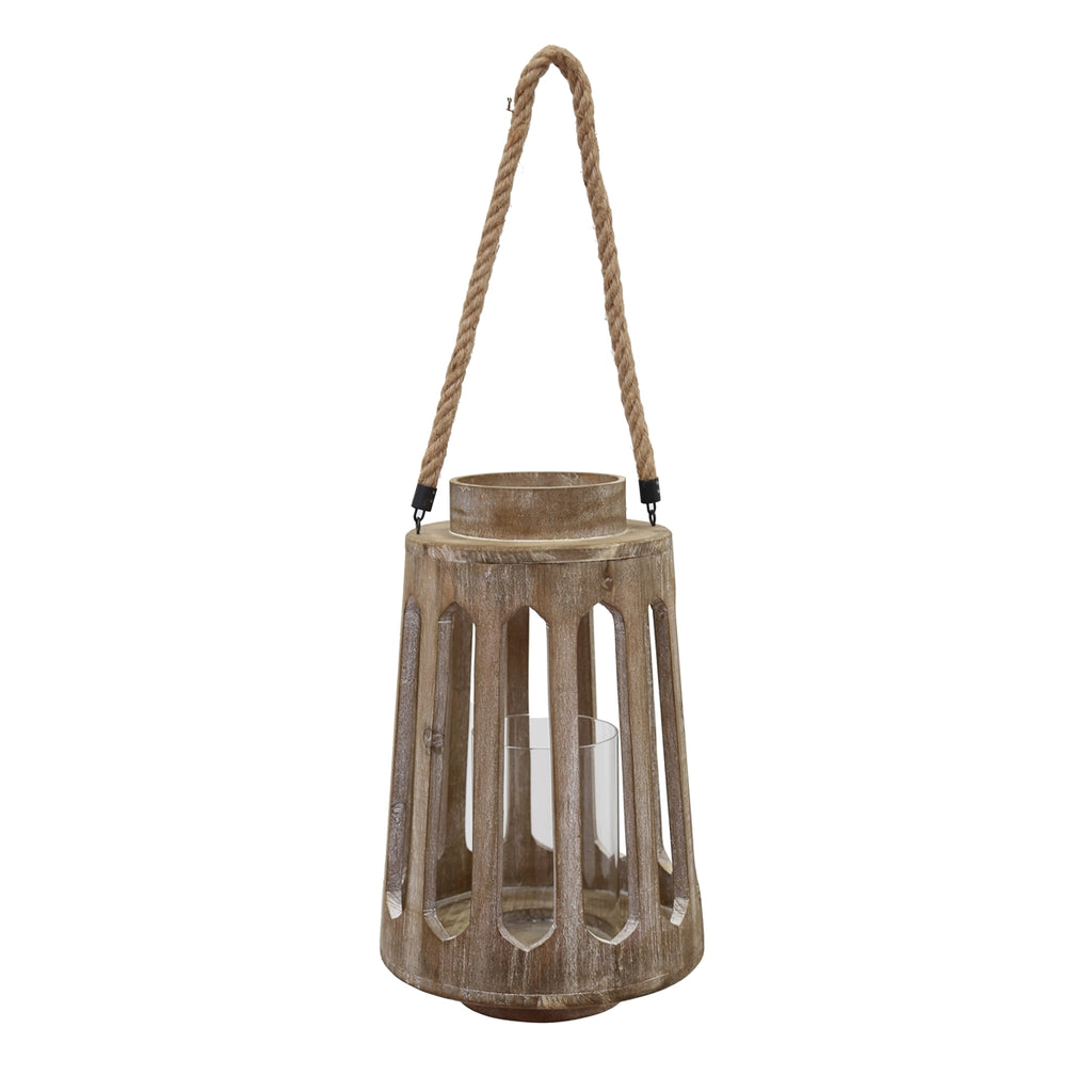 LARGE HANGING BEIGE WOOD LANTERN