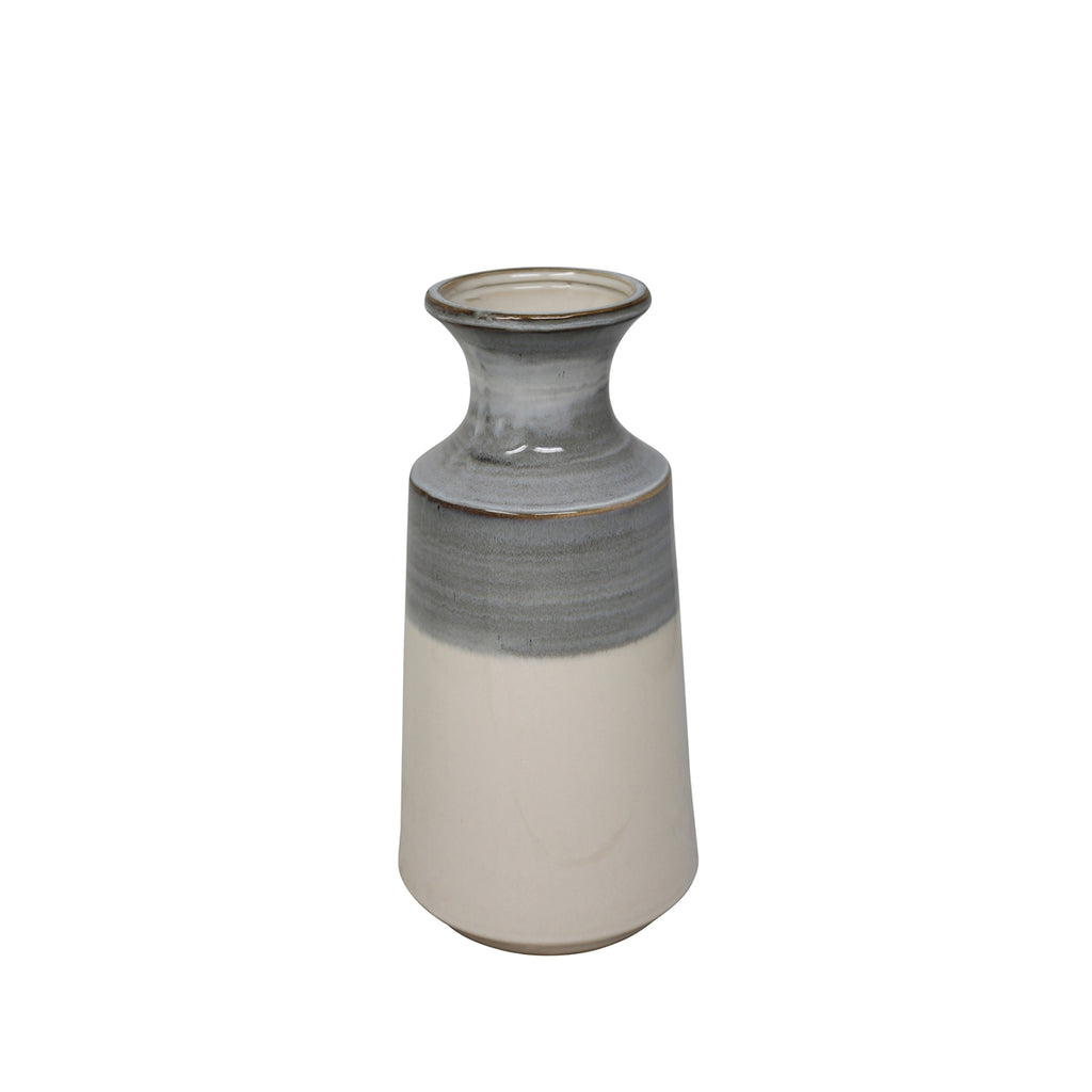 SMALL CERAMIC GRAY AND WHITE VASE