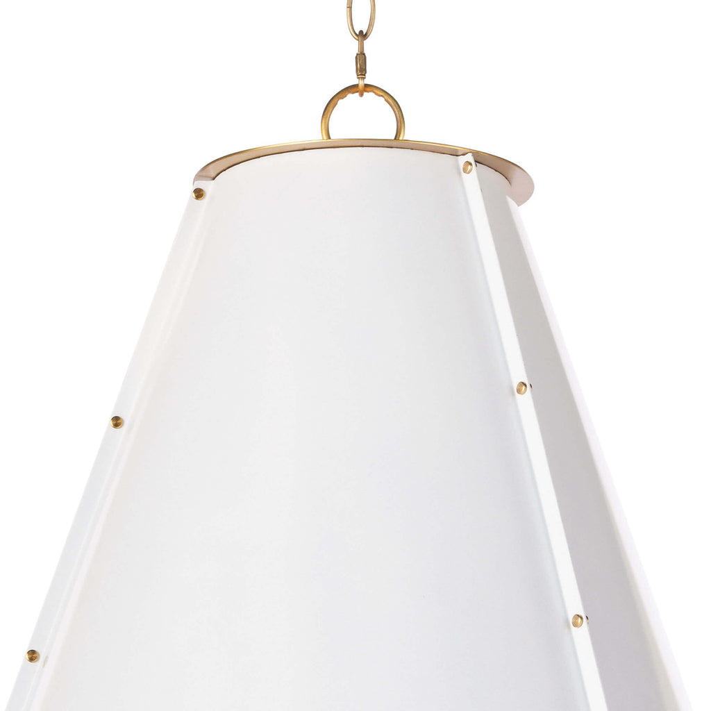 FRENCH MAID CHANDELIER LARGE (WHITE & NATURAL BRASS)