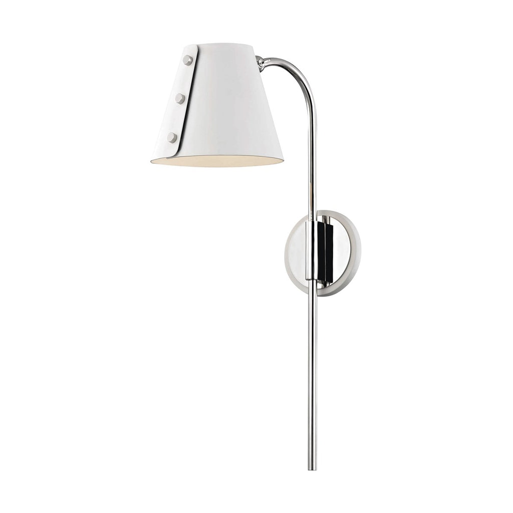 POLISHED NICKEL/WHITE META SCONCE