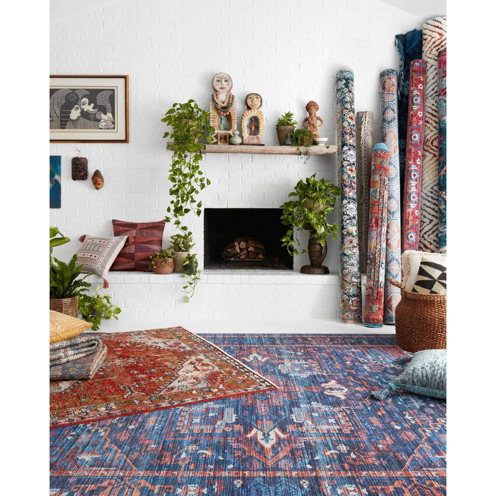 blue multi cielo rug in living room