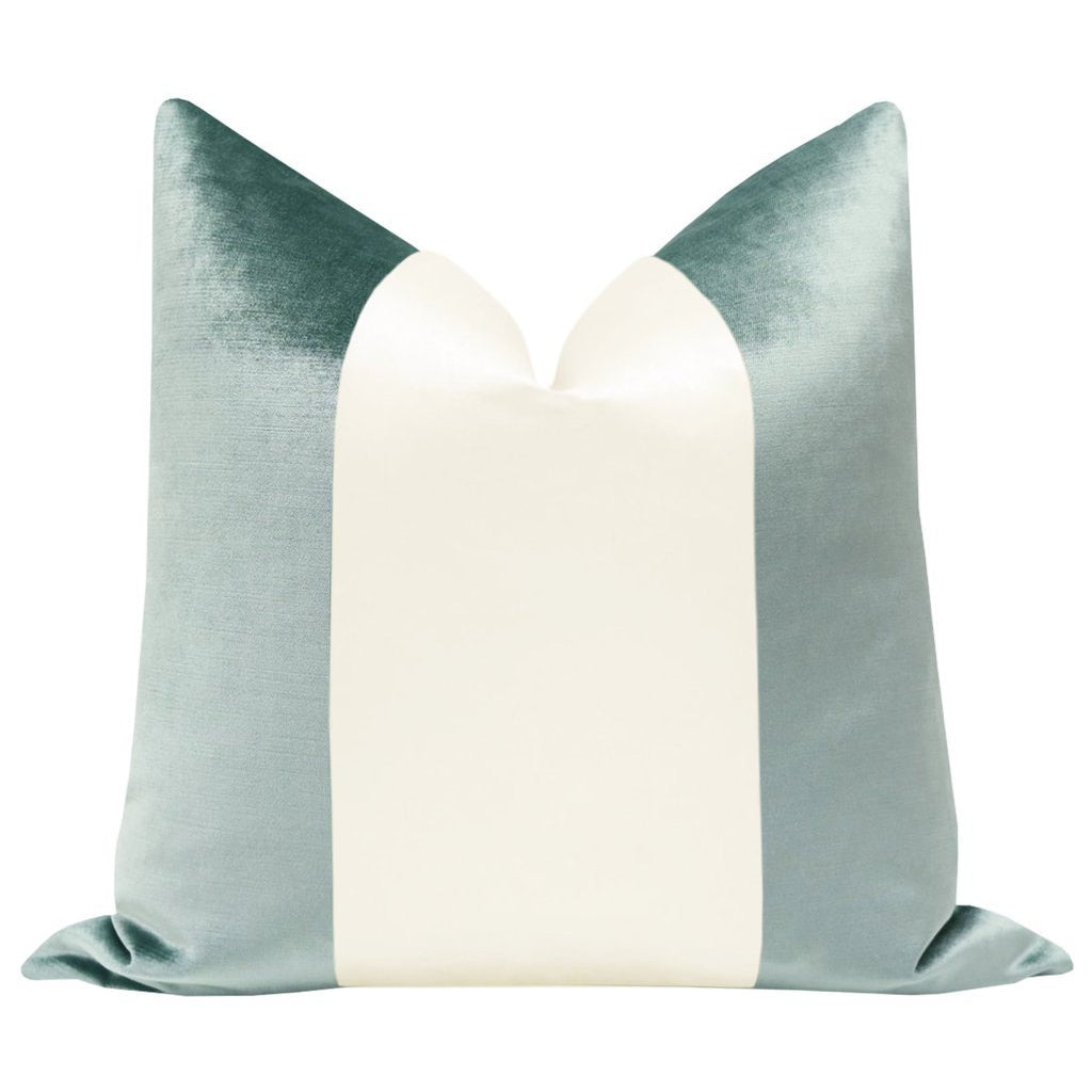 COLORBLOCK FAUX SILK VELVET IN TURKISH BLUE/ ALABASTER PILLOW