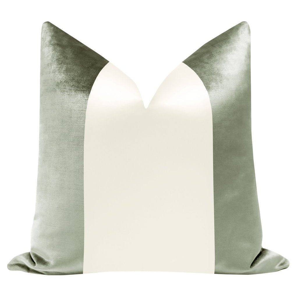 COLORBLOCK FAUX SILK VELVET IN PISTACHIO + ALABASTER PILLOW