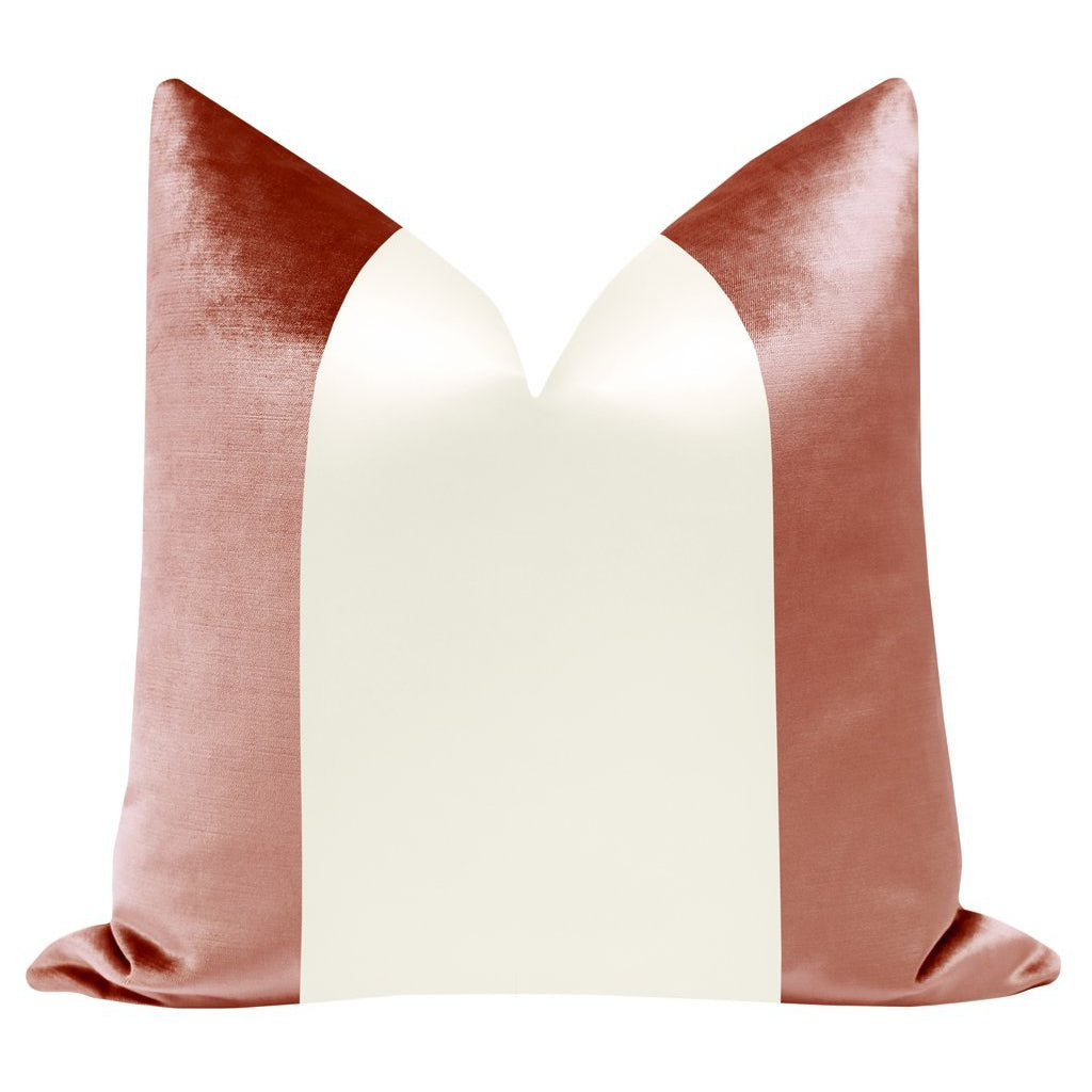 COLORBLOCK FAUX SILK VELVET IN ROSE GOLD + ALABASTER PILLOW