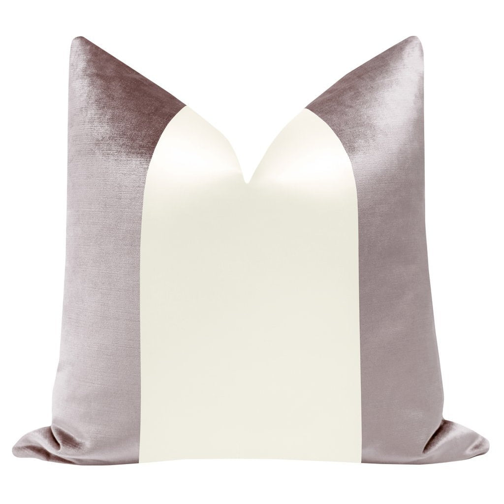 COLORBLOCK FAUX SILK VELVET IN SMOKEY LAVENDER + ALABASTER PILLOW