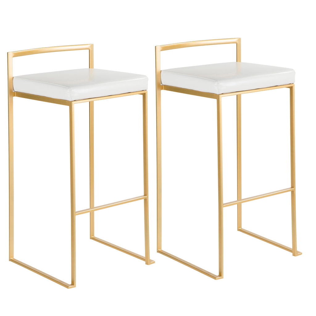 CONTEMPORARY GOLD & WHITE BARSTOOL - SET OF 2