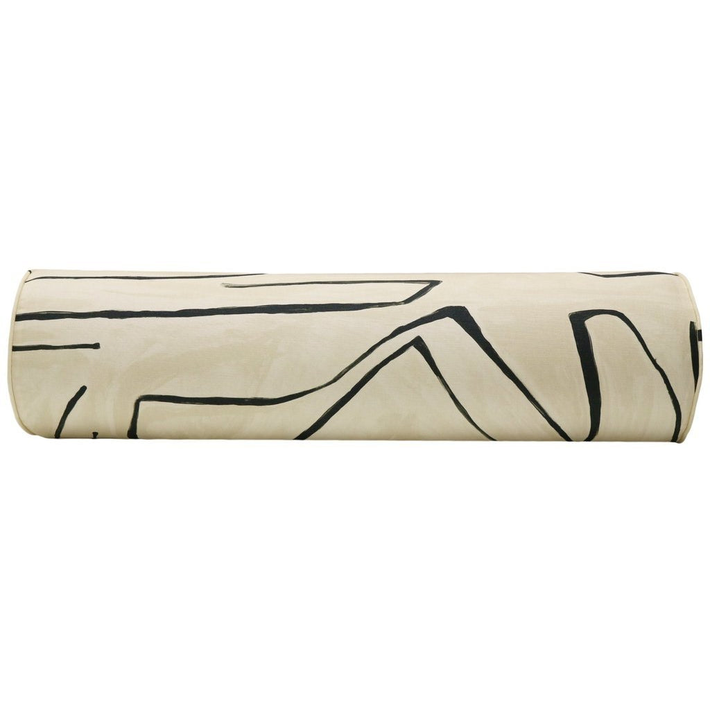 THE BOLSTER GRAFFITO LINEN/ ONYX PILLOW