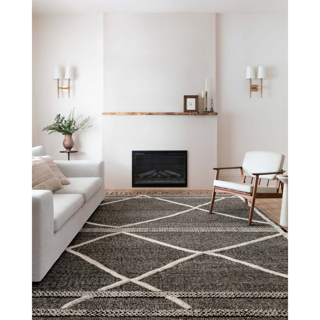 BEIGE AND CHARCOAL IMAN RUG IN LIVING ROOM
