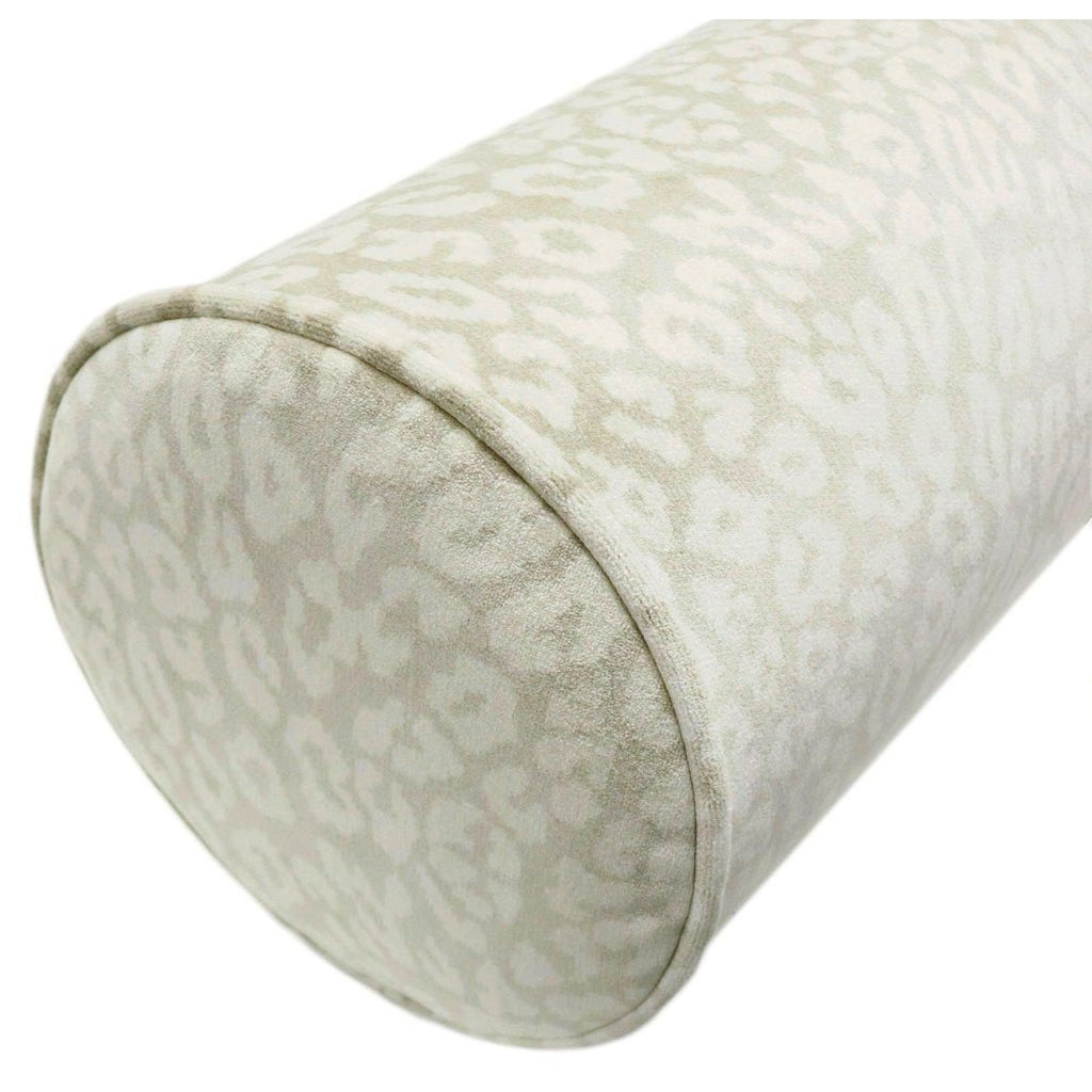 THE BOLSTER NEUTRAL LEOPARD VELVET PILLOW