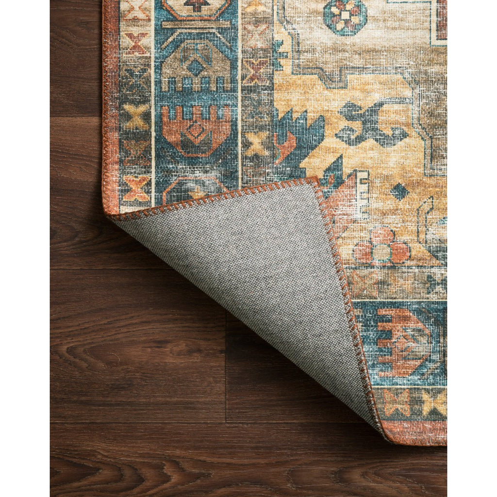 rust blue skye rug and backing