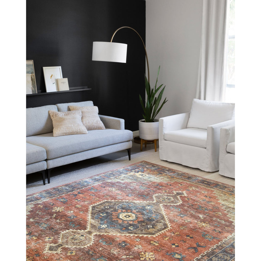 rust blue sky rug in living room