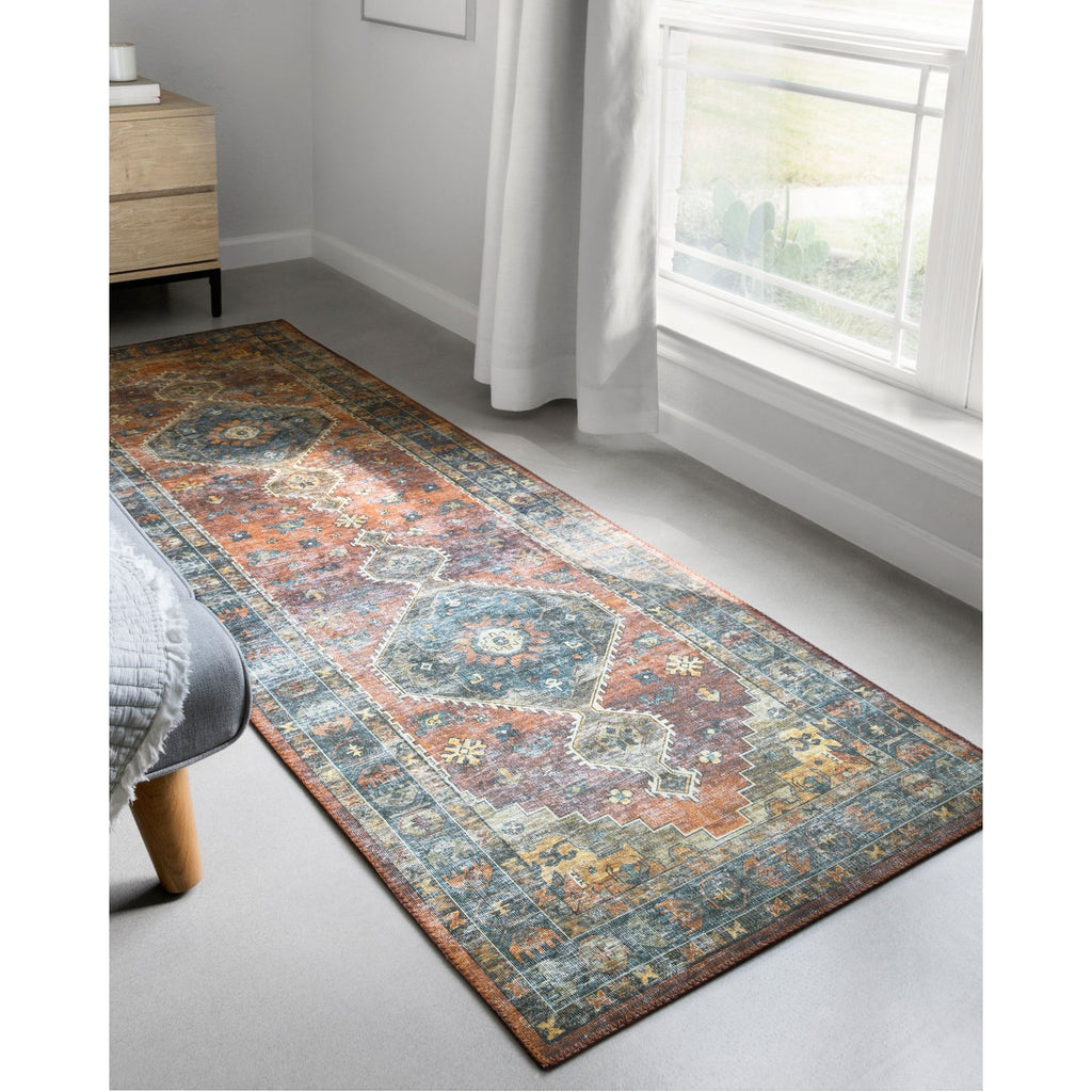 rust blue skye rug runner