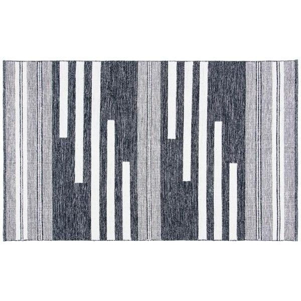 IVORY AND BLACK BEACHY BOHO TRIBAL RUG
