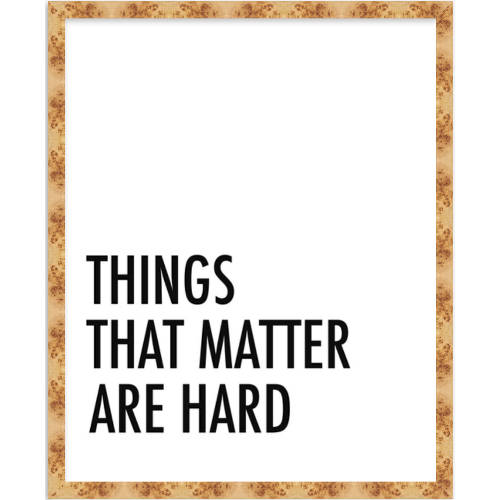 THINGS THAT MATTER ARE HARD