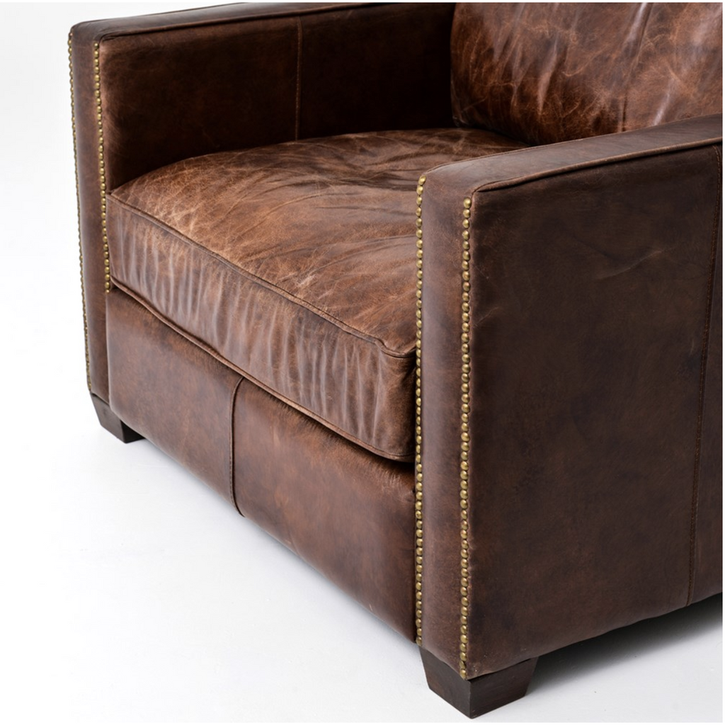 cigar leather armchair brass nailhead