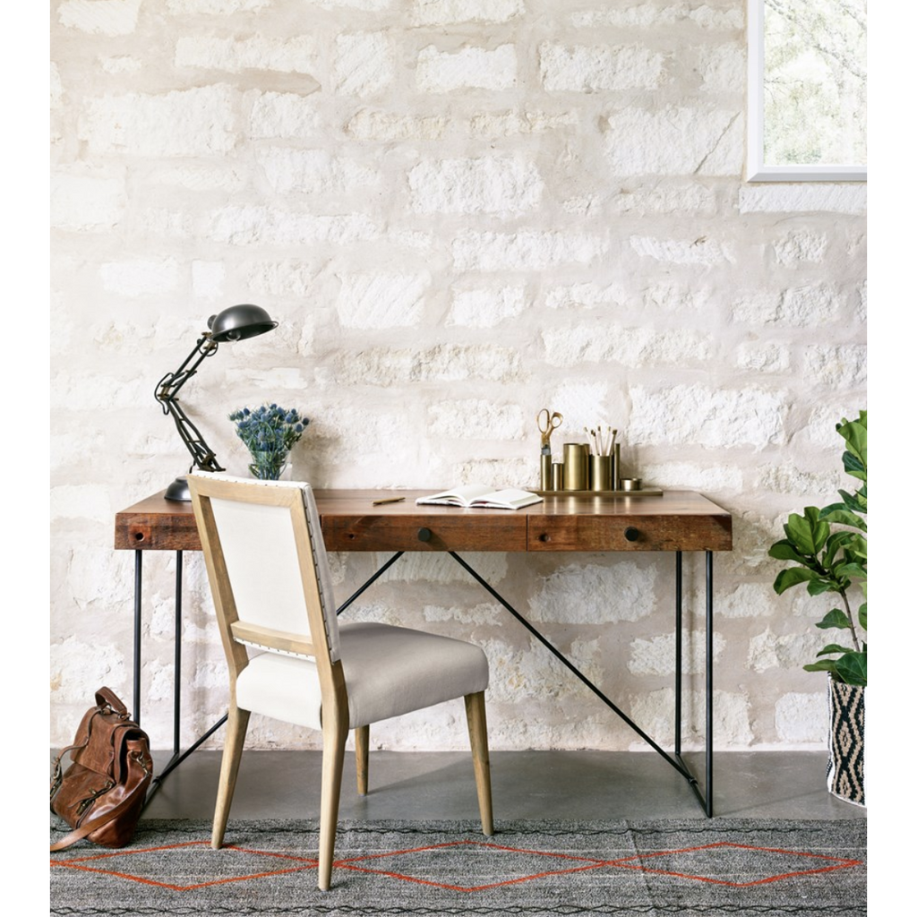 linen dining chair at desk