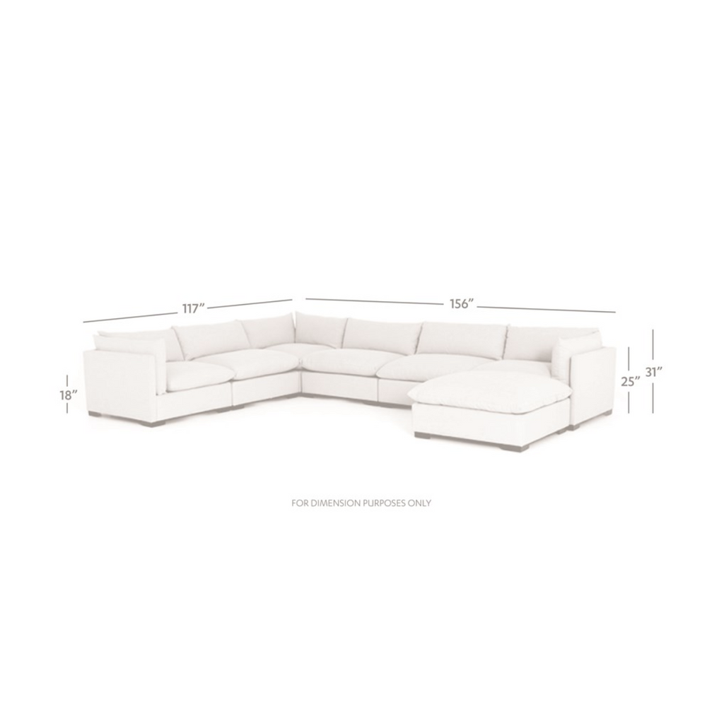 dimensions of bennett moon sectional