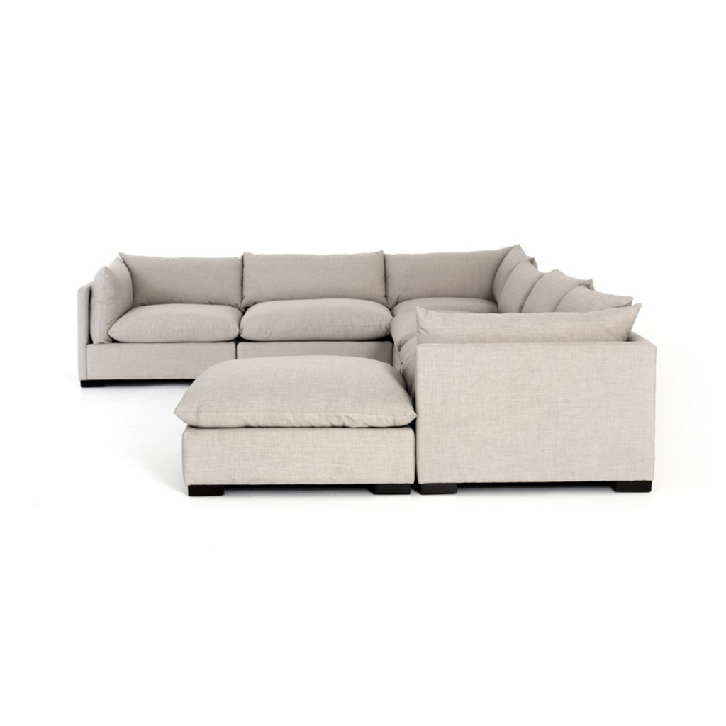 side view of ivory color sectional