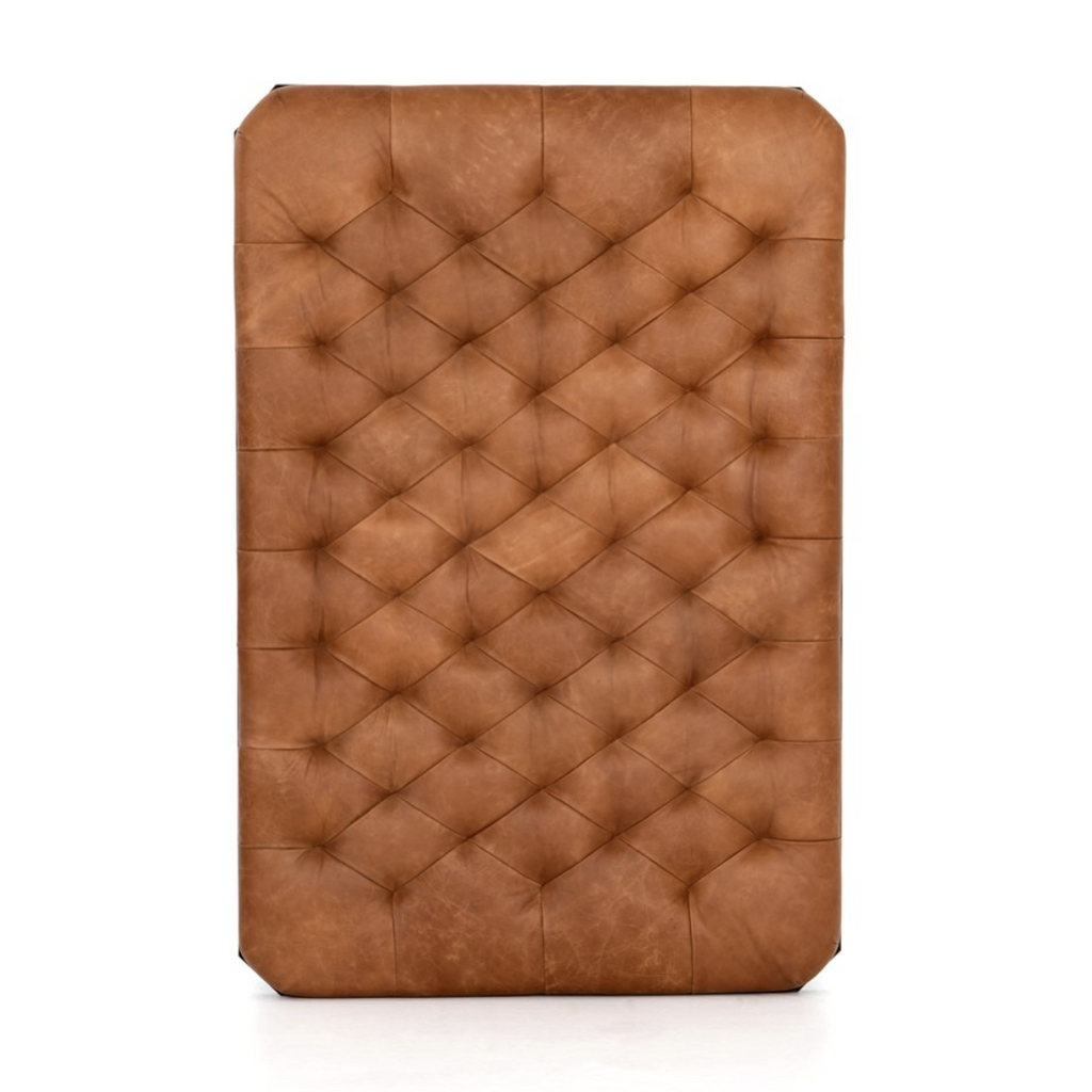 top of leather tufted ottoman