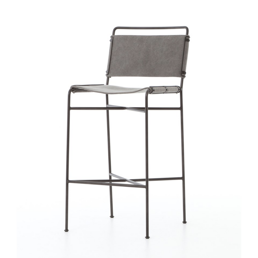 grey canvas bar stool