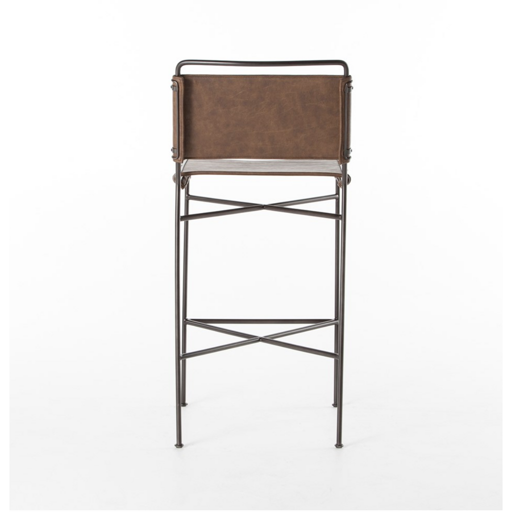 distressed brown faux leather counter stool back view