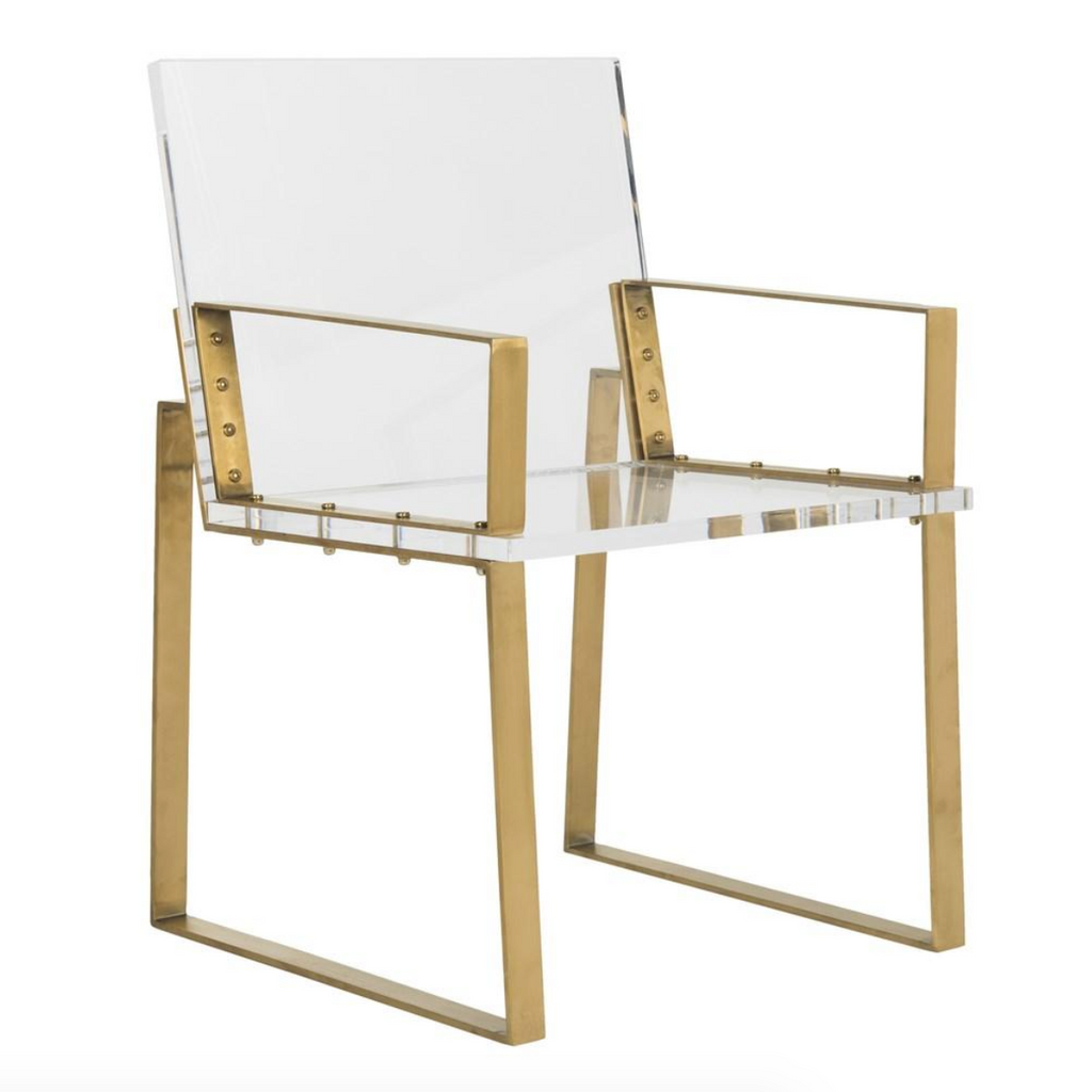 brass and acrylic chair