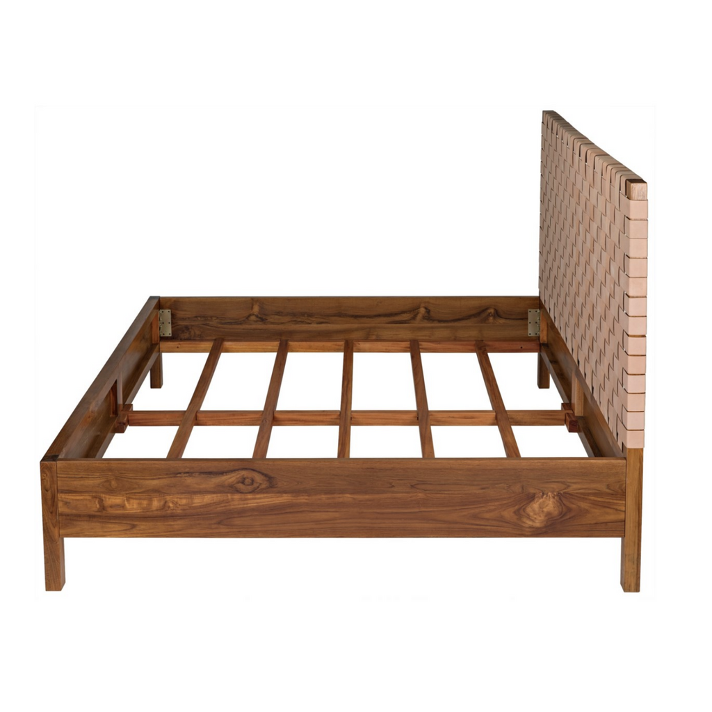 TEAK MANSARD BED, EASTERN KING