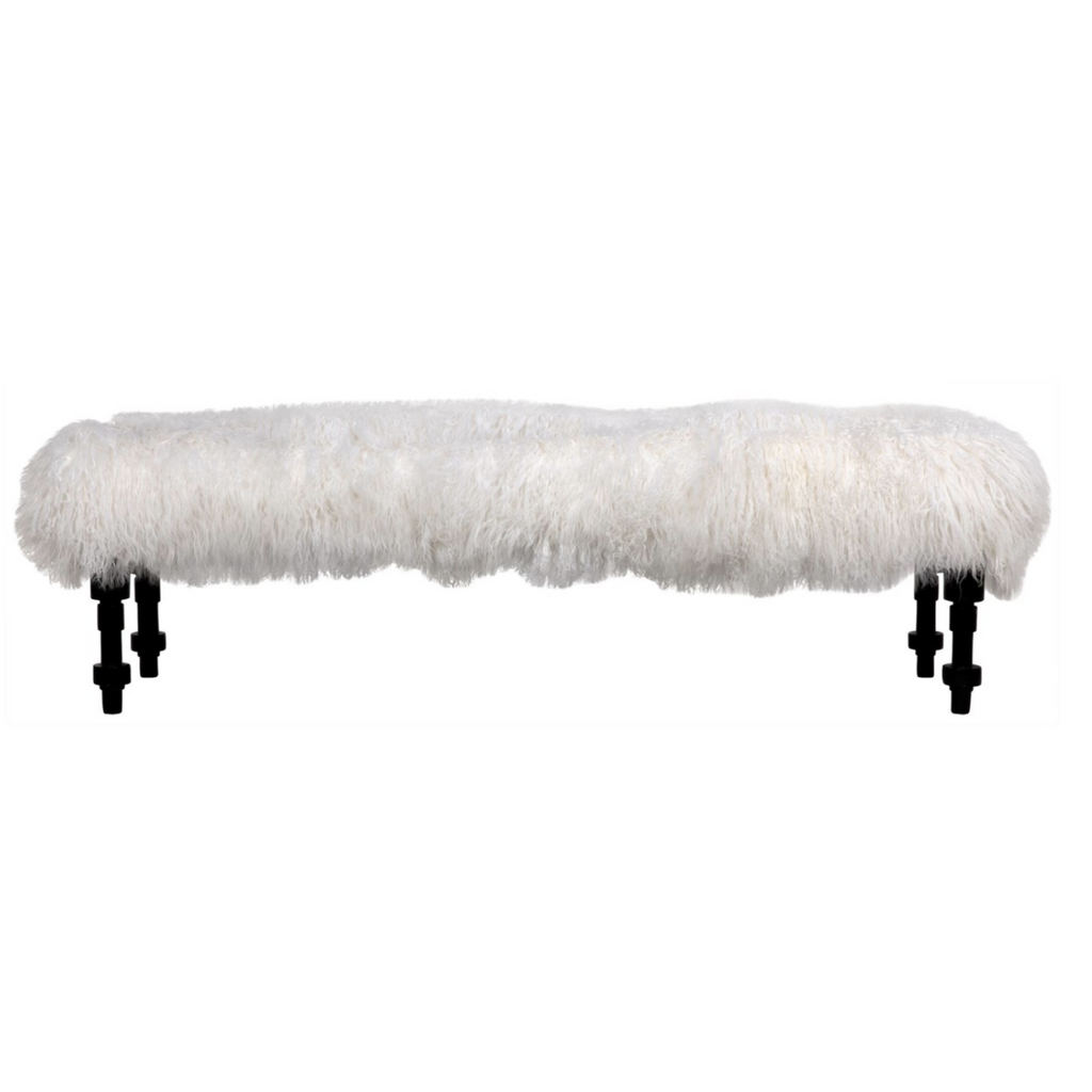 lamb fur bench