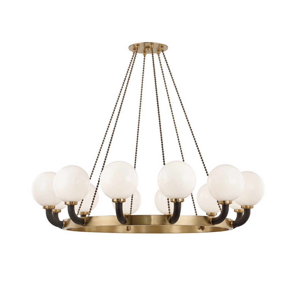 werner large chandelier in aged brass/ black