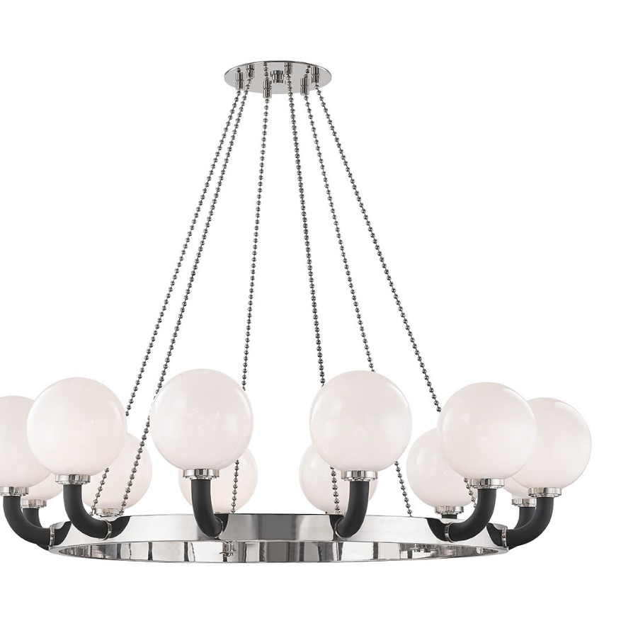 werner large chandelier in polished nickel/ black