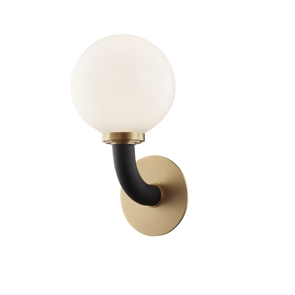 werner wall sconce in aged brass/ black