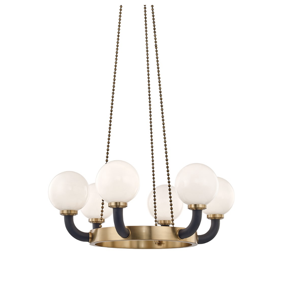 werner 6 lamp pendant in aged brass/ black