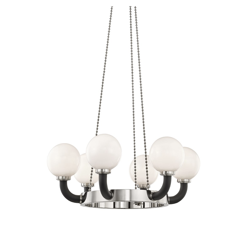 werner 6 lamp pendant in polished nickel/ black