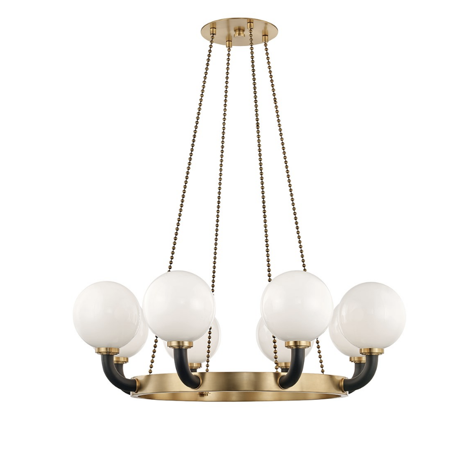 werner 8 lamp pendant in aged brass/ black