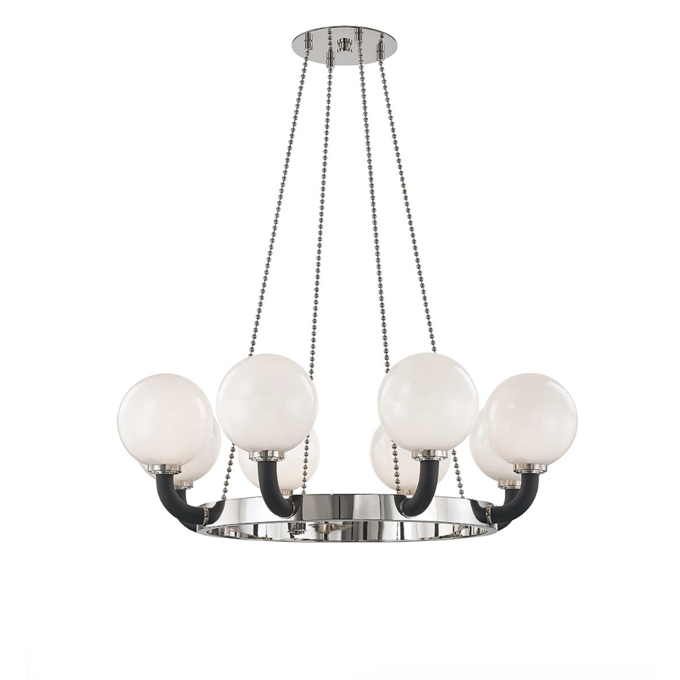 werner 8 lamp pendant in polished nickel/ black