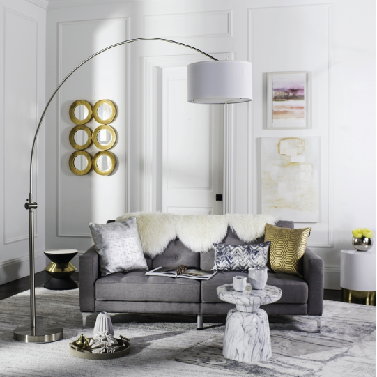 ascella arc floor lamp in living room