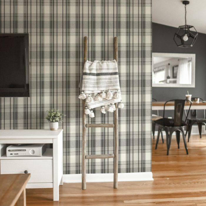 bartola plaid wallpaper in black/white in living room