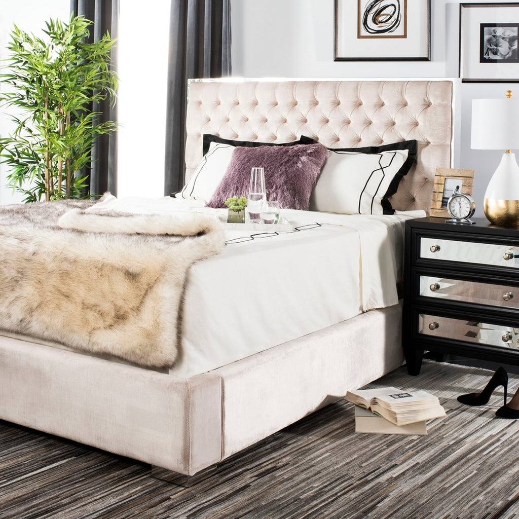 chester pearl velvet king bed in bedroom