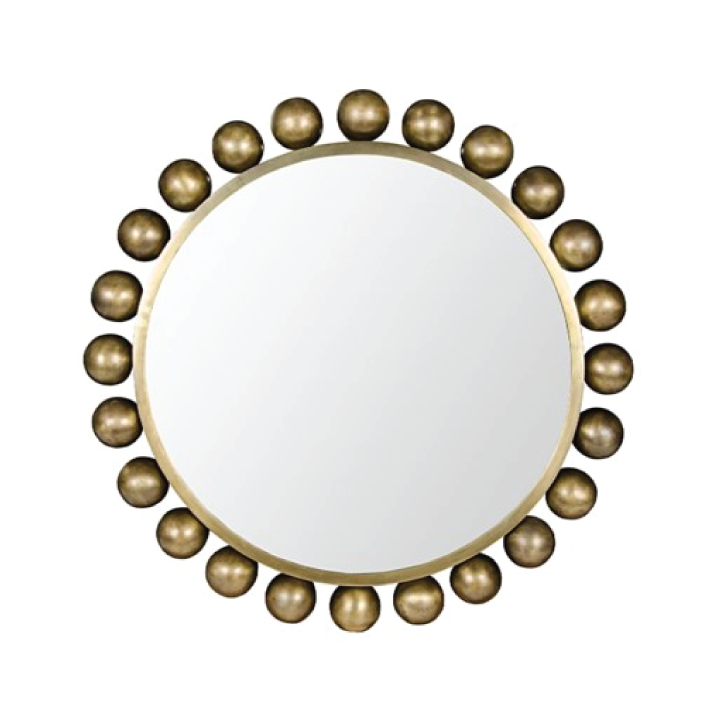 cooper mirror in antique brass