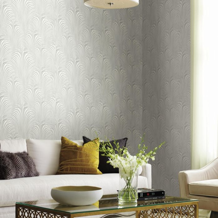 deco fountain wallpaper white/silver in living room