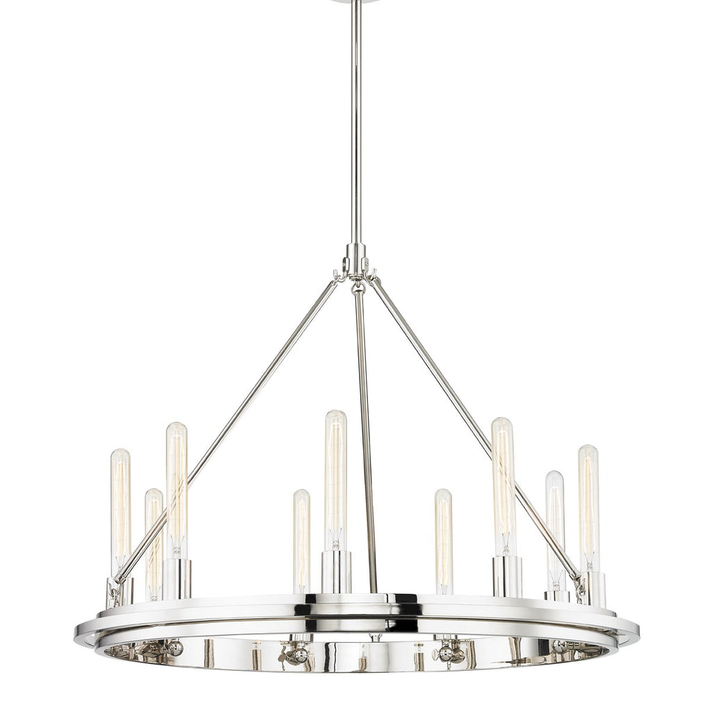POLISHED NICKEL CHAMBERS CHANDELIER
