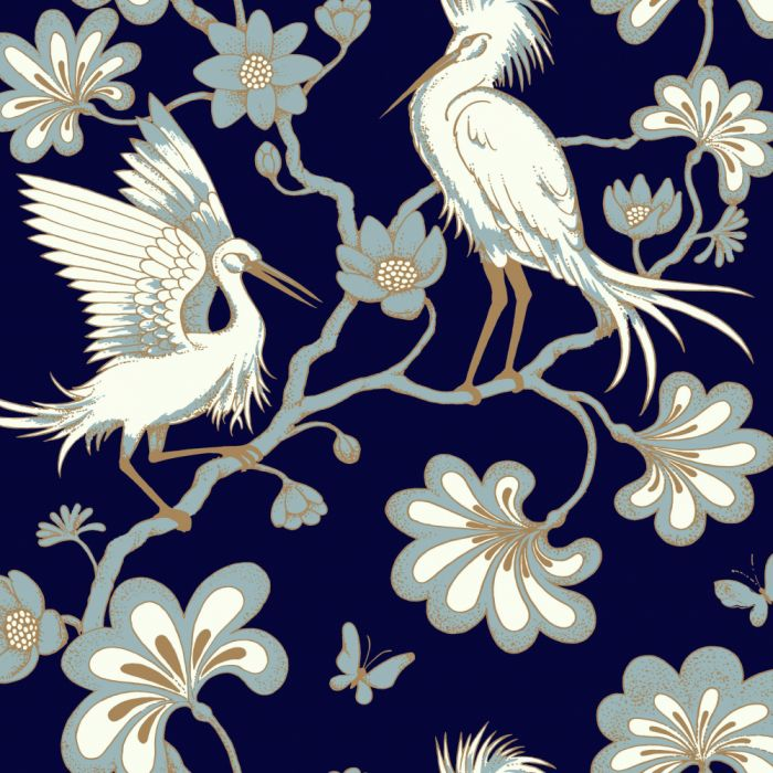 navy/gold egrets wallpaper