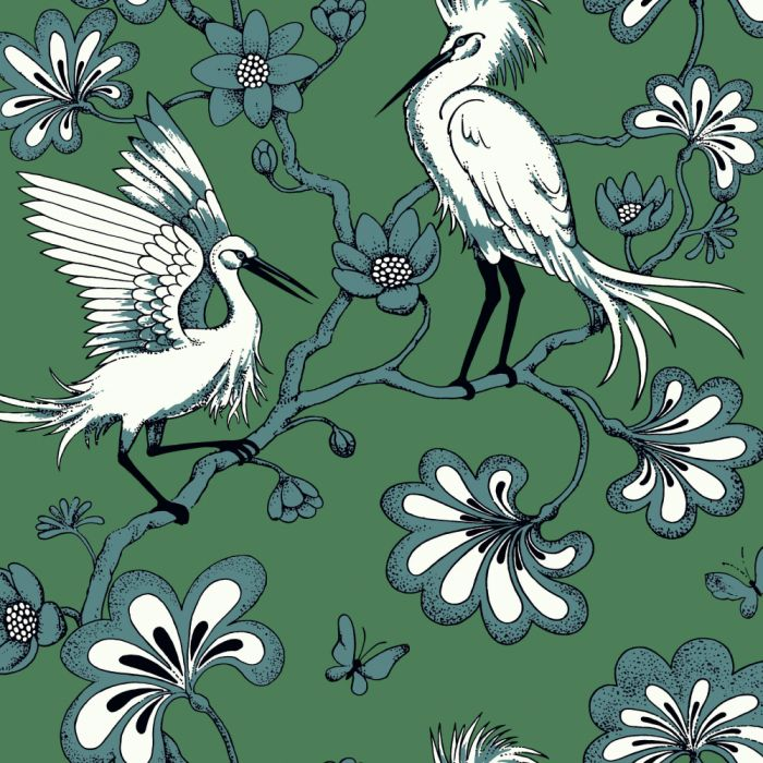 green/teal egrets wallpaper