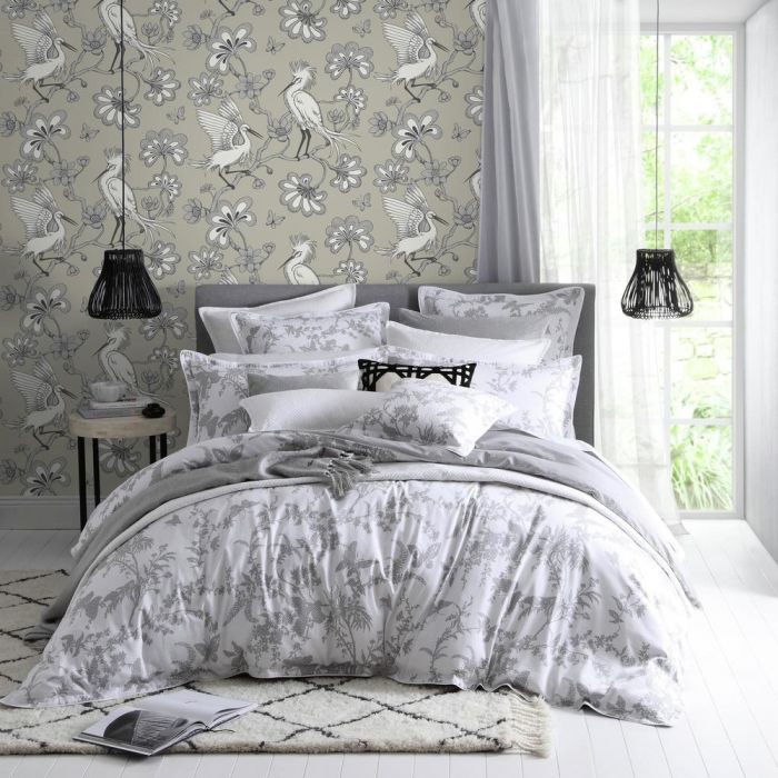 taupe egrets wallpaper in bedroom setting