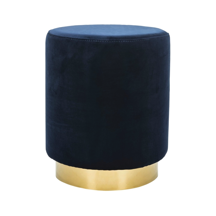 navy velt ottoman with brass bass