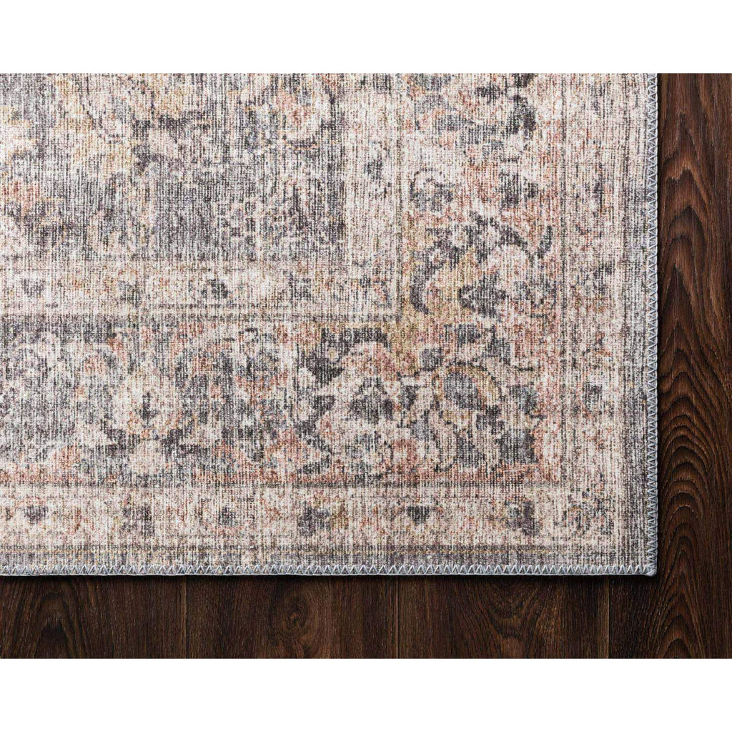 grey apricot sky rug up close