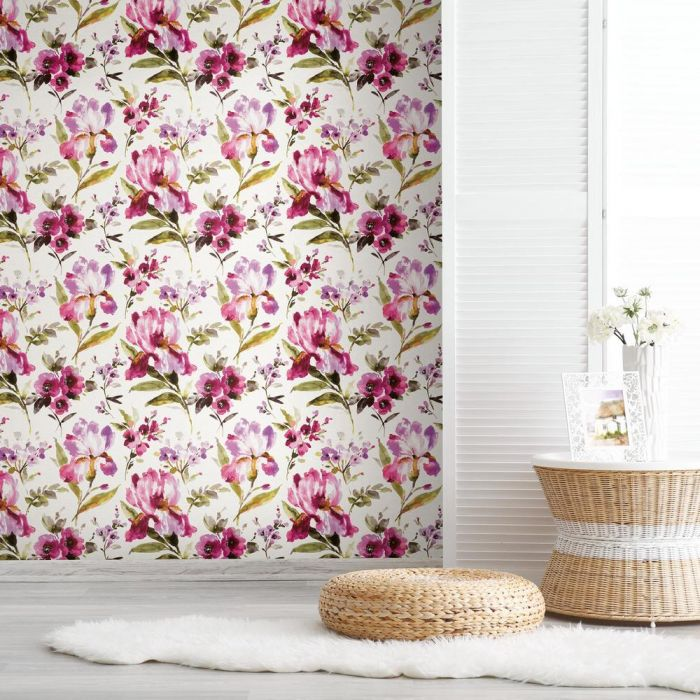 iris pink wallpaper in sitting room